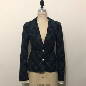 Juicy Couture green wool plaid school girl jacket